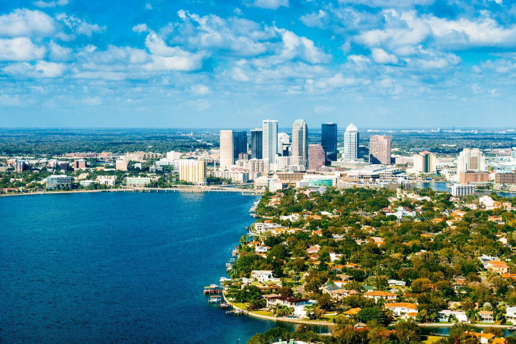 Aerial View of Tampa Skyline, Florida USA representing South Tampa Homes.