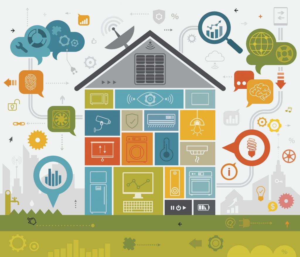 Vibrant vector illustration depicting home automation. Nicely layered representing energy efficient features.