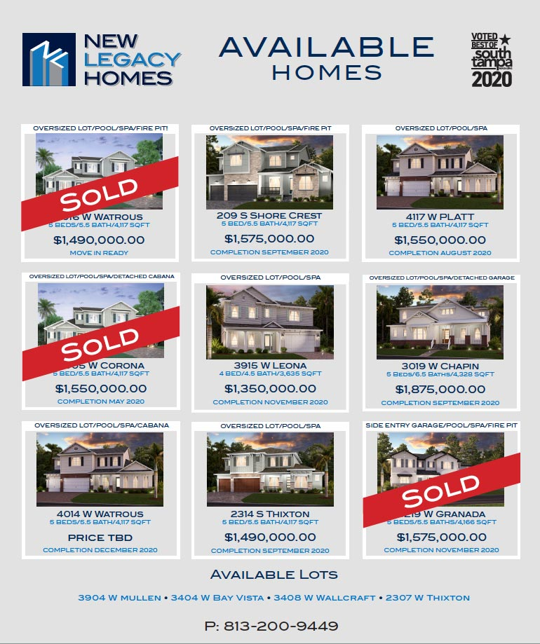 available sheet of homes and prices