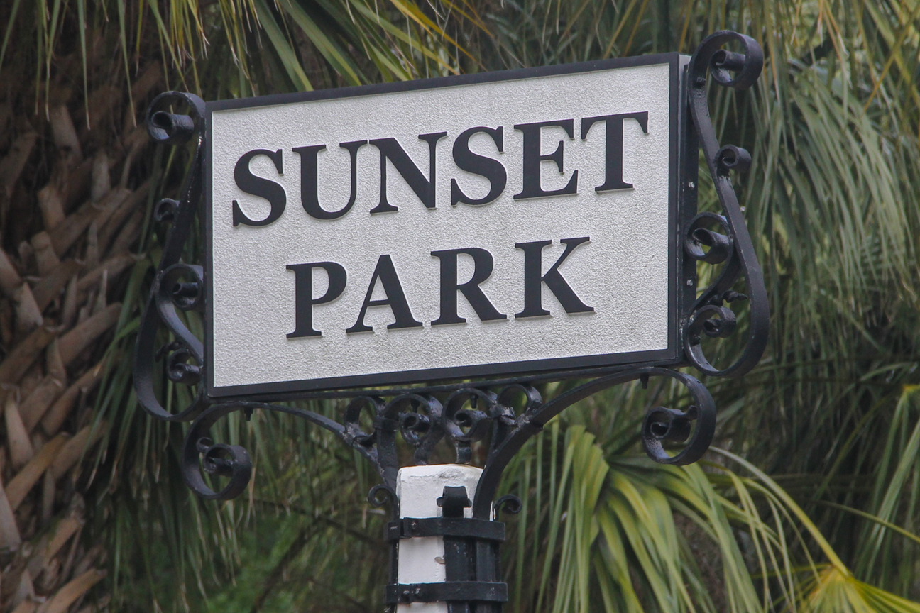 Sunset park street sign