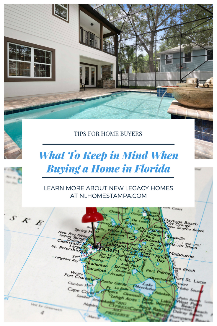 graphic that says what to keep in mind when buying a home in florida