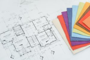 floor plan - Close up sample of fabric and architectural drawing paper