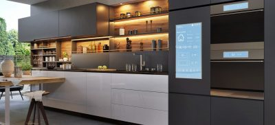 Smart home control panel in a modern kitchen