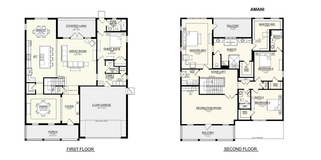 New Legacy Homes floor plan for Amani