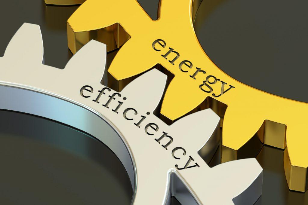Energy Efficiency concept on the gearwheels, 3D rendering