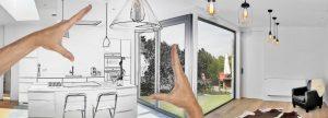 half real half animation representing a custom built home interior